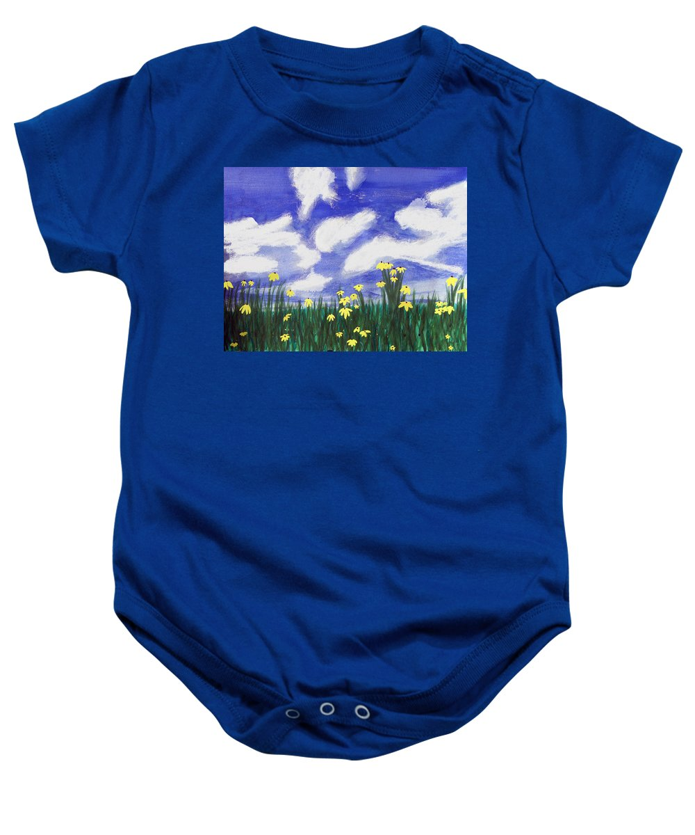 Acrylic Baby Onesie featuring the painting Flowers Bright Field by Lee Serenethos