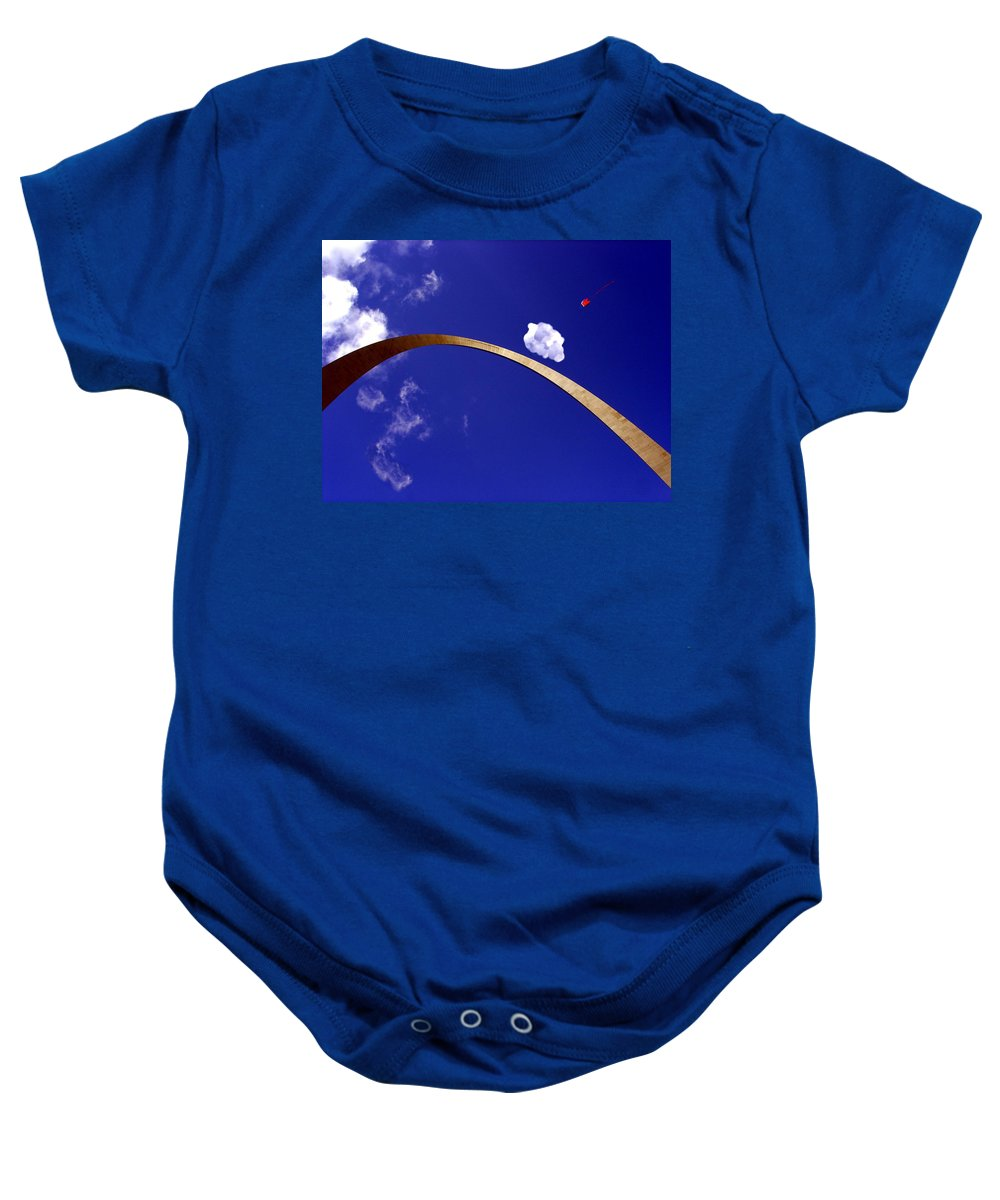 Saint Louis Arch Baby Onesie featuring the photograph Fly A Kite by Kenny Glover