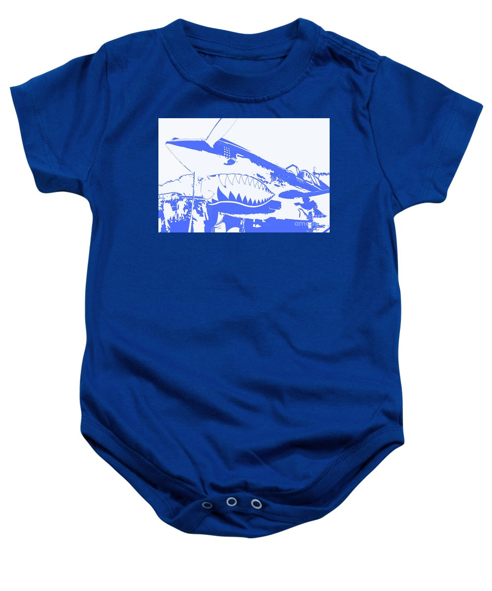 Flying Tiger Blue Baby Onesie featuring the digital art Flying Tiger Blue by Chris Taggart