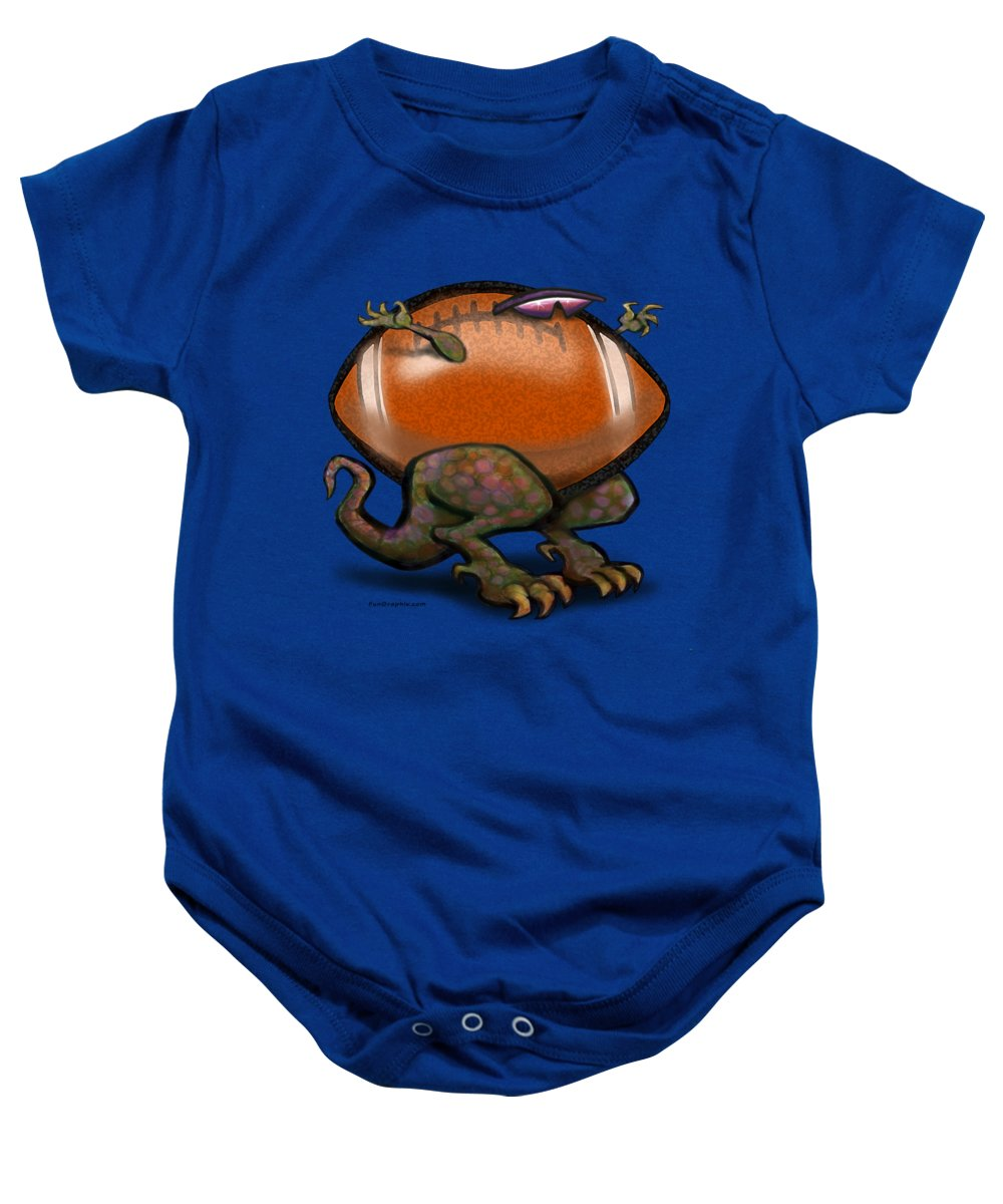 Football Baby Onesie featuring the digital art Football Beast by Kevin Middleton