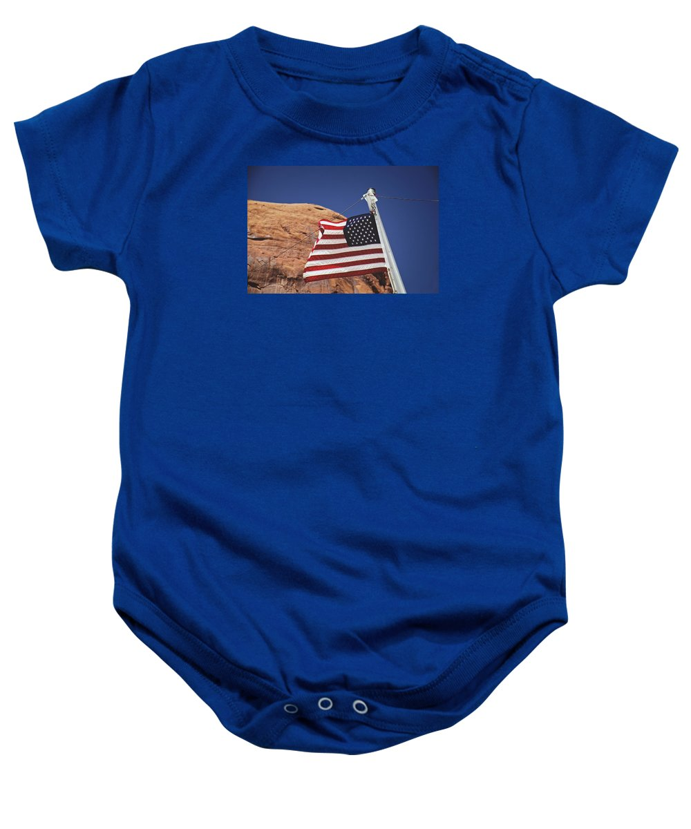 Lake Powell Baby Onesie featuring the photograph Forever May She Wave by Lucinda Walter