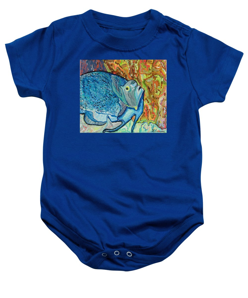 French Baby Onesie featuring the painting French Angle Fish by Heather Lennox