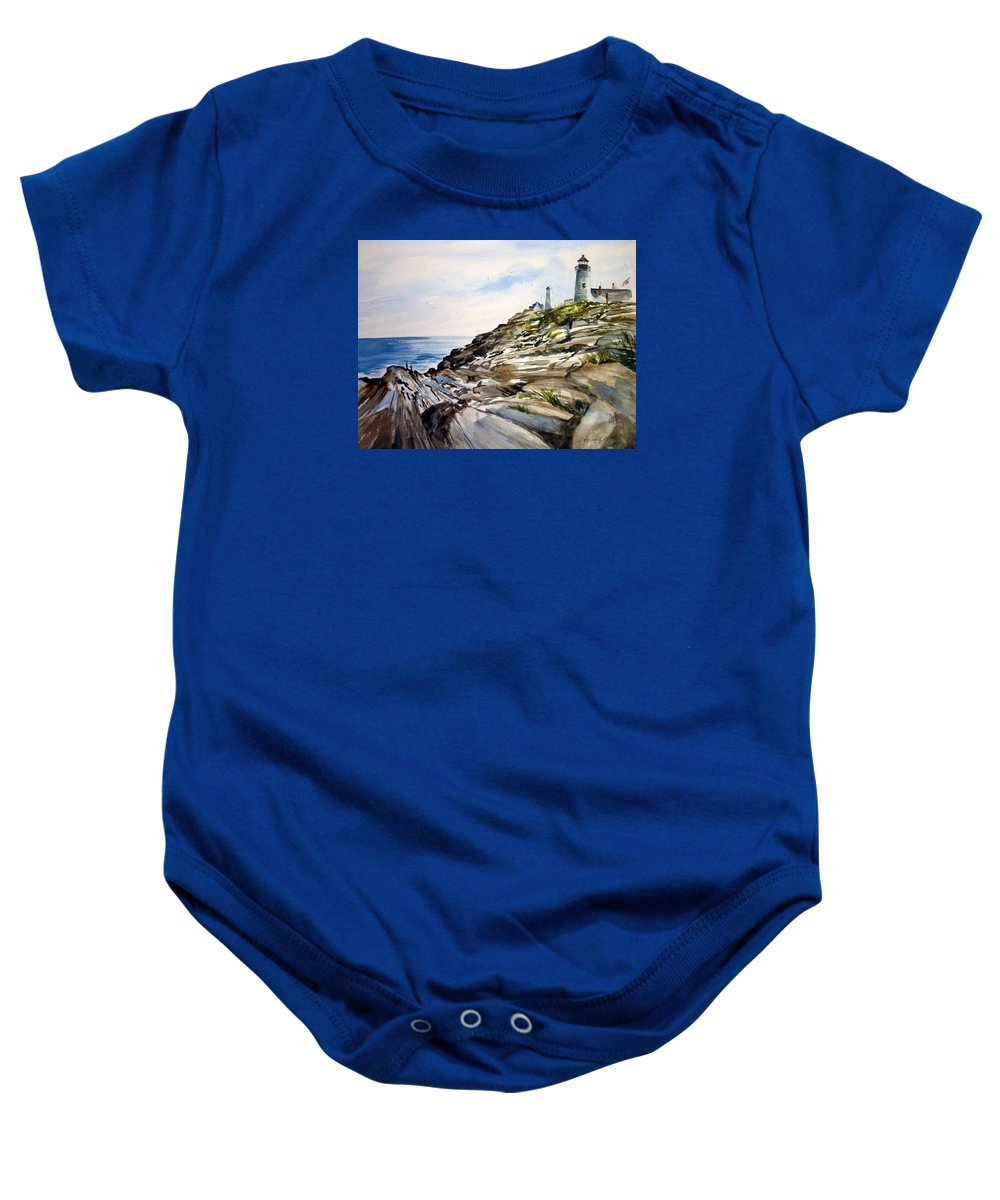 Pemaquid Light House;rocks;ocean;maine;pemaquid;light;lighthouse; Baby Onesie featuring the painting From The Rocks Below by Lois Mountz