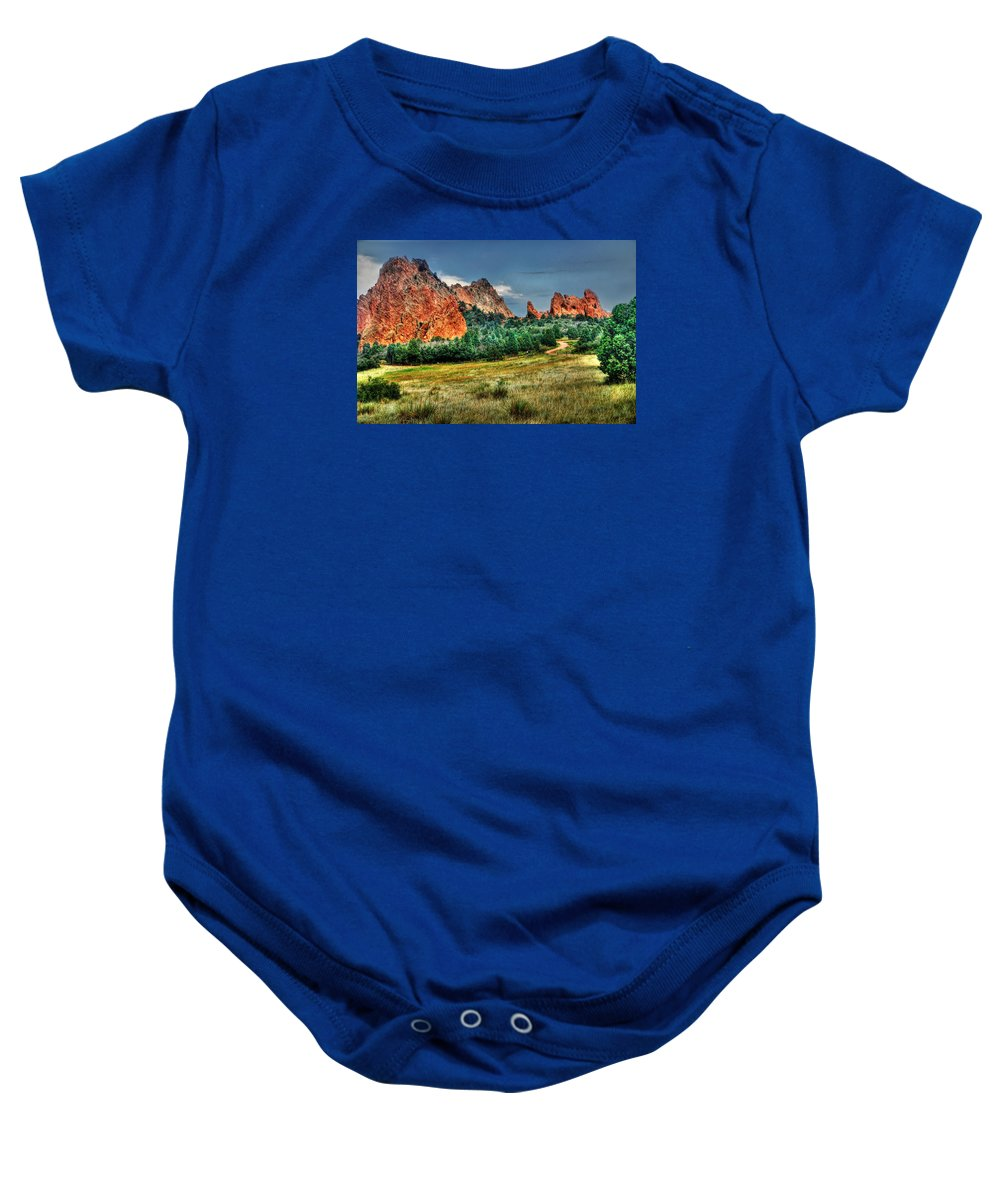 Garden Of The Gods Baby Onesie featuring the photograph Garden Of The Gods by Michael Ciskowski