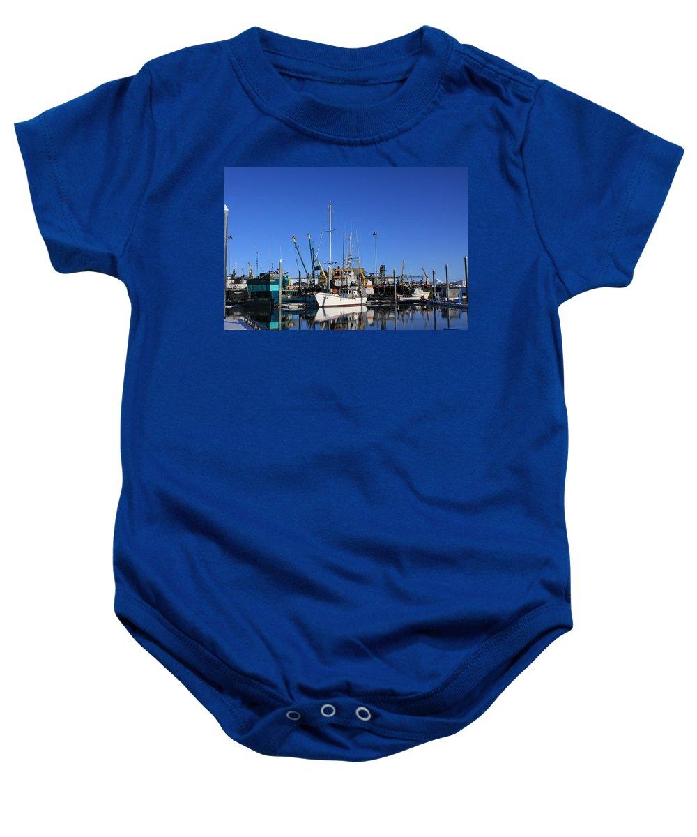 Homer Alaska Baby Onesie featuring the photograph Glassy Harbor Reflection by Lori Mahaffey