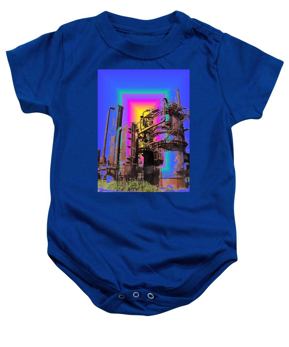 Seatttle Baby Onesie featuring the digital art Gasworks Park 2 by Tim Allen