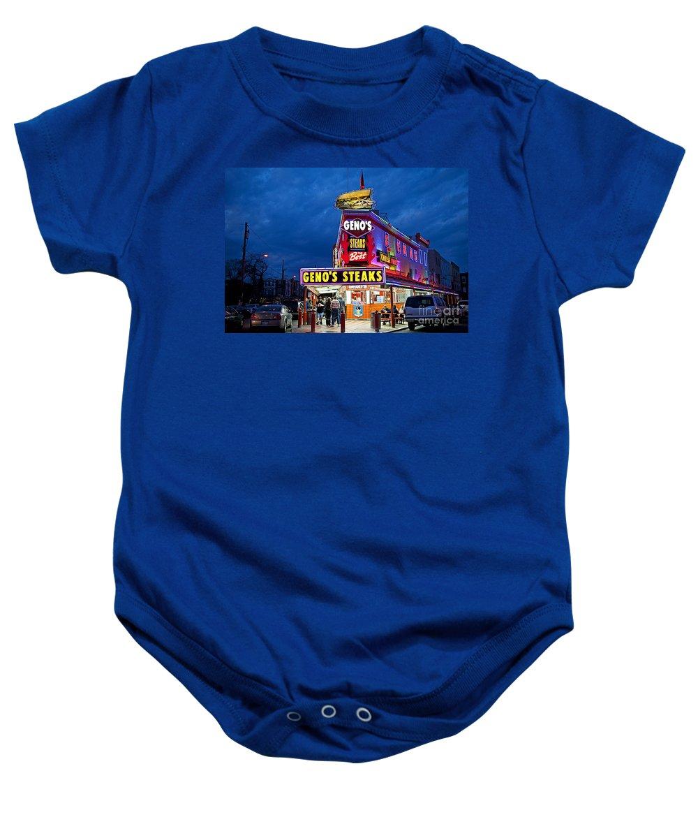 Philadelphia Baby Onesie featuring the photograph Geno's Steaks South Philly by John Greim