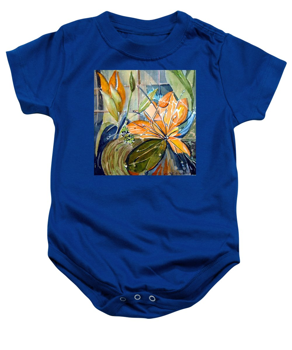 Lilies Baby Onesie featuring the painting Geo Day Lilies by Mindy Newman