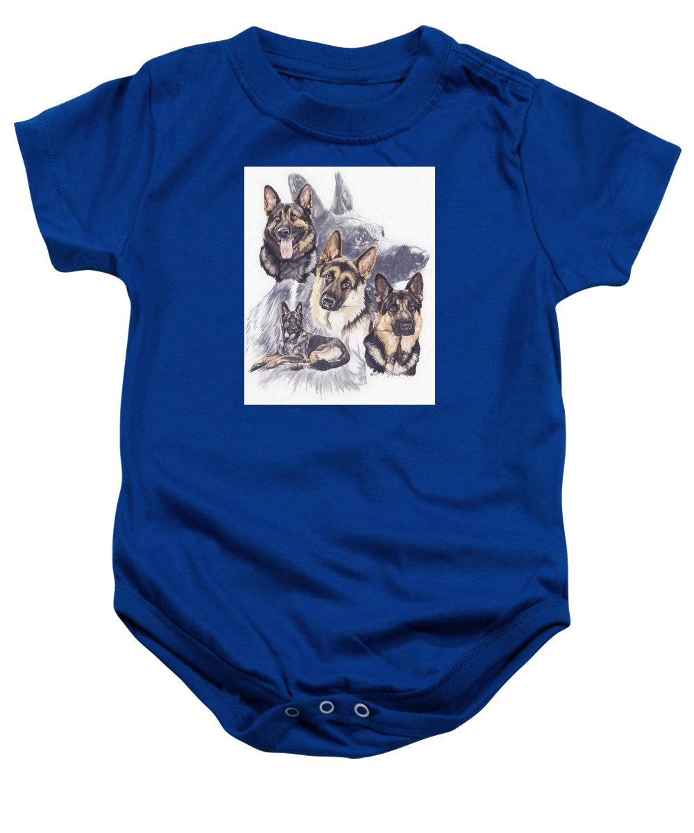 Purebred Baby Onesie featuring the mixed media German Shepherd W/ghost by Barbara Keith