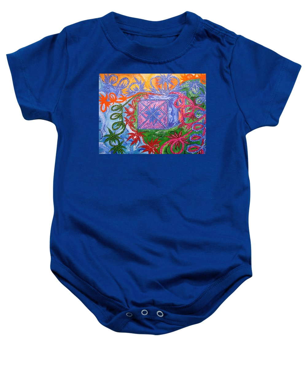 Symbol Baby Onesie featuring the painting Gift by Joanna Pilatowicz