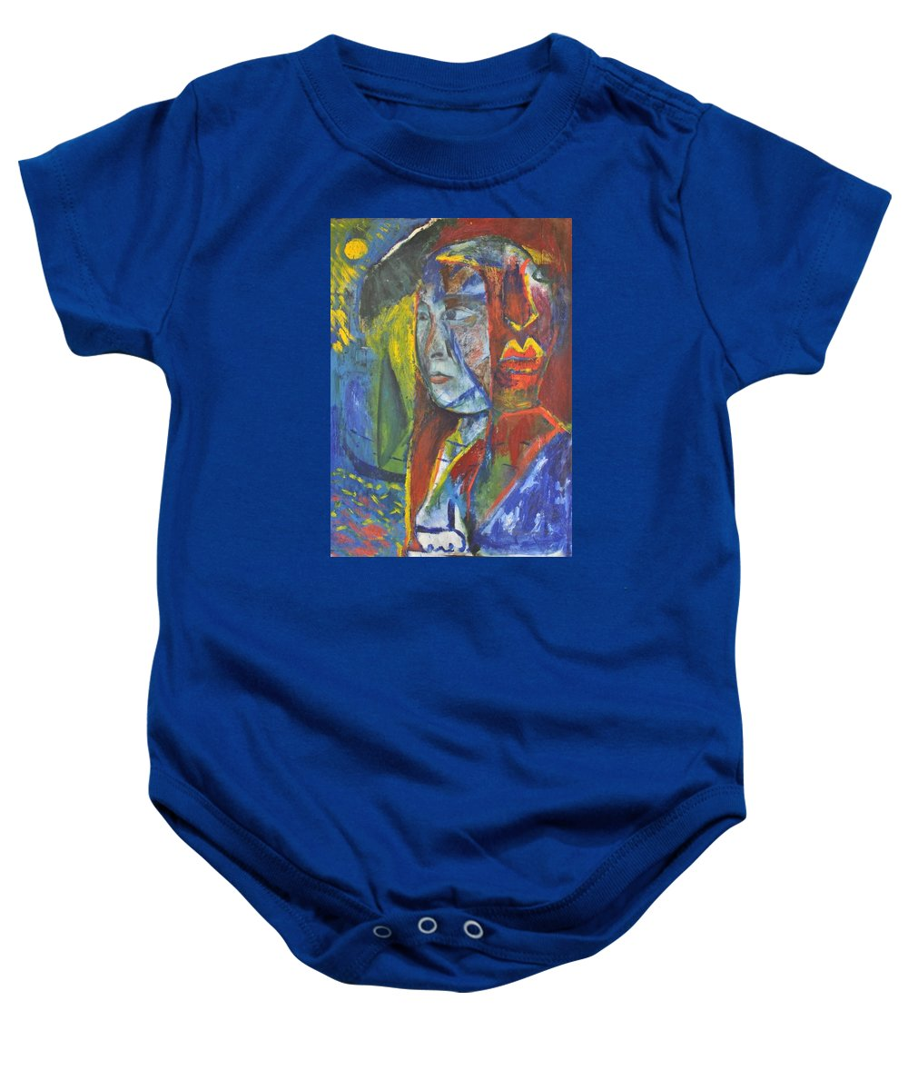 Sea Baby Onesie featuring the painting Girl Standing On Seashore.2011. by Ranjith Kk
