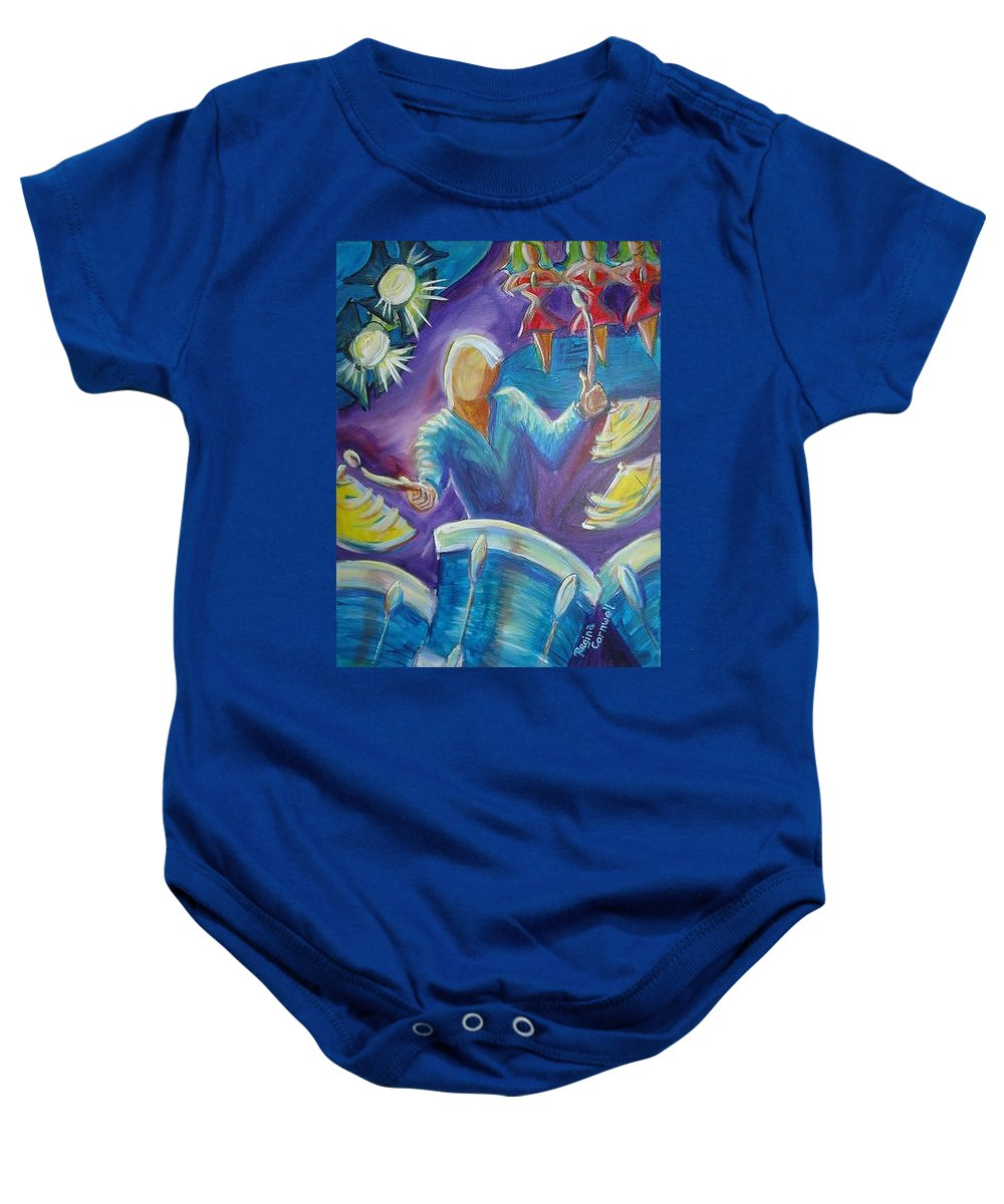 Jazz Baby Onesie featuring the painting Give Me A Beat by Regina Walsh