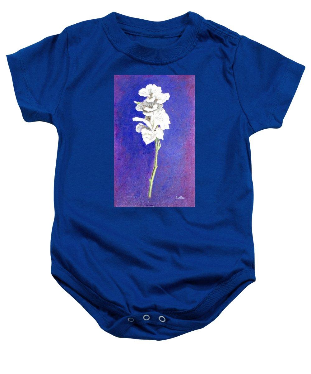 Flower Baby Onesie featuring the painting Gladiolus 1 by Usha Shantharam