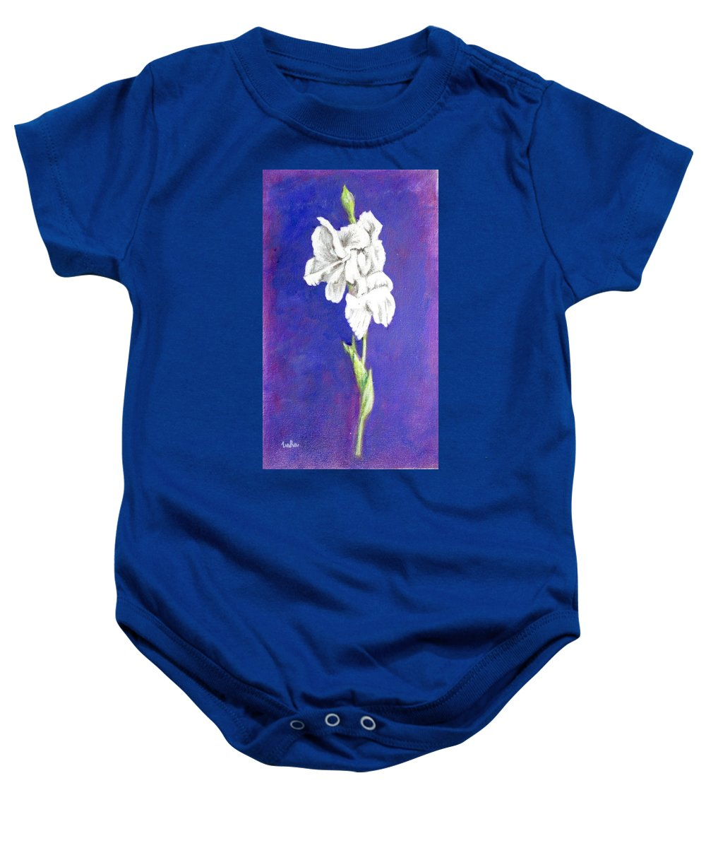 Baby Onesie featuring the painting Gladiolus 2 by Usha Shantharam