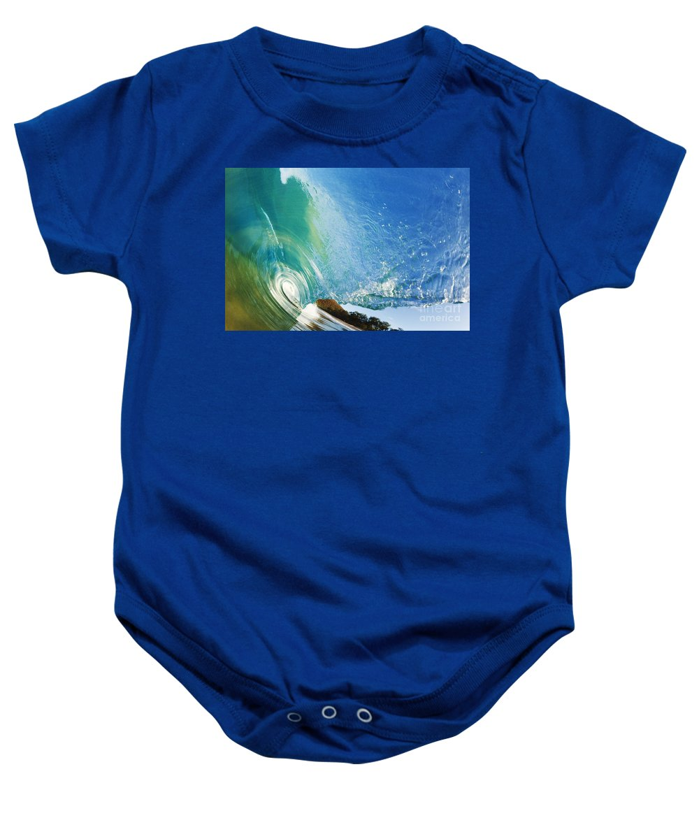 Amazing Baby Onesie featuring the photograph Glassy Wave Tube by MakenaStockMedia - Printscapes