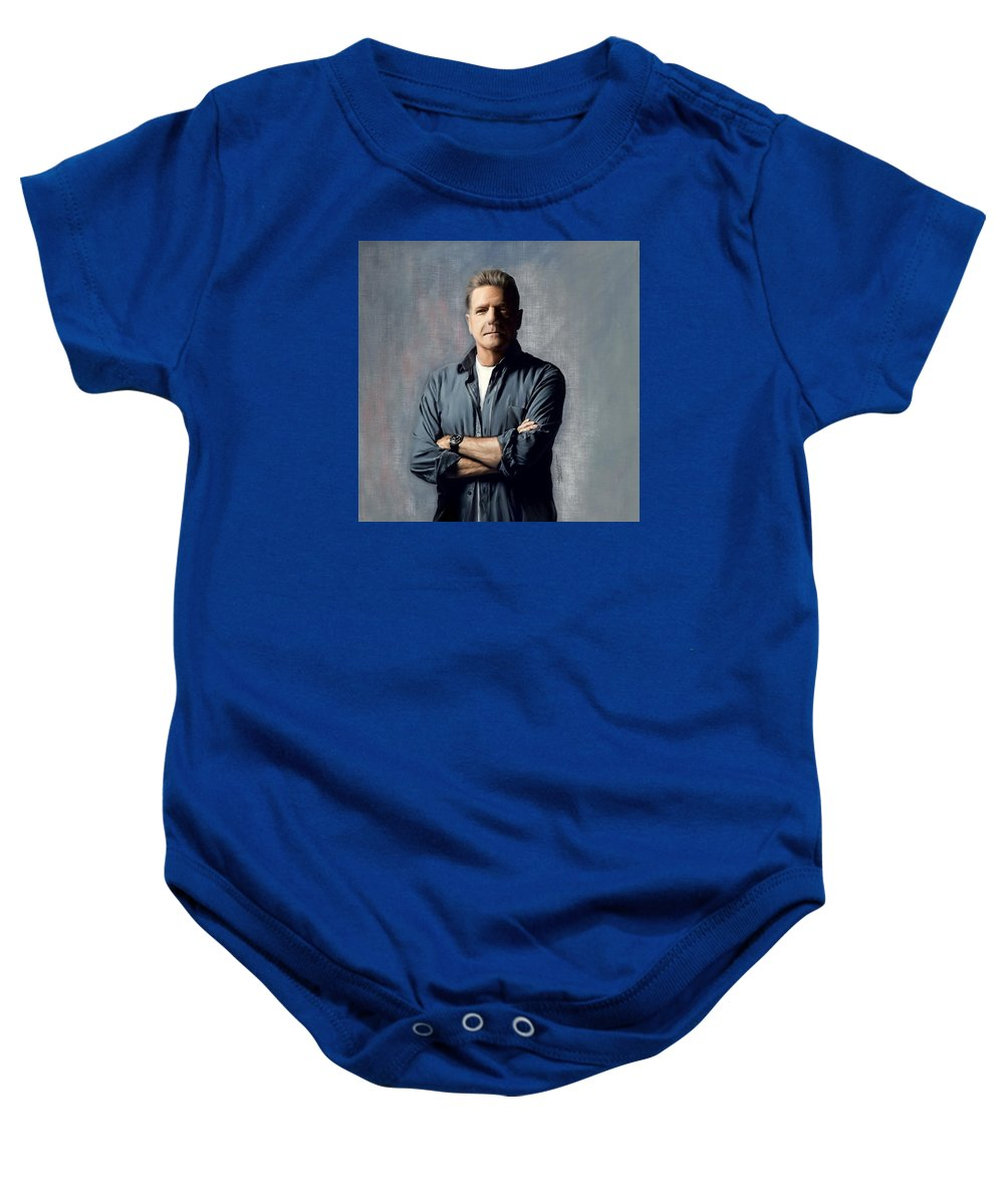 Music Baby Onesie featuring the painting Glenn Frey by Mark Tonelli