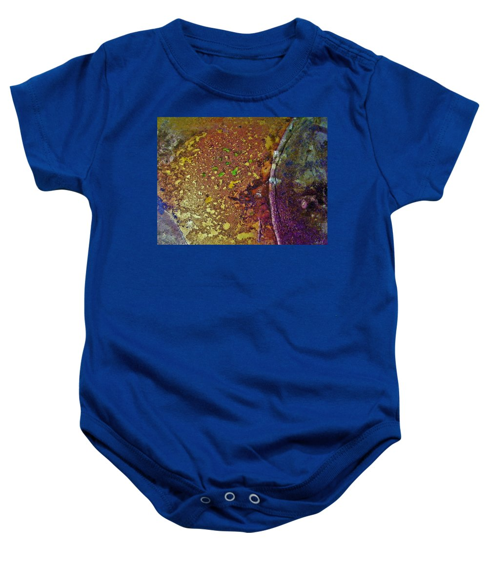 Abstract Baby Onesie featuring the painting Gold Path by Darla J Bower Oder