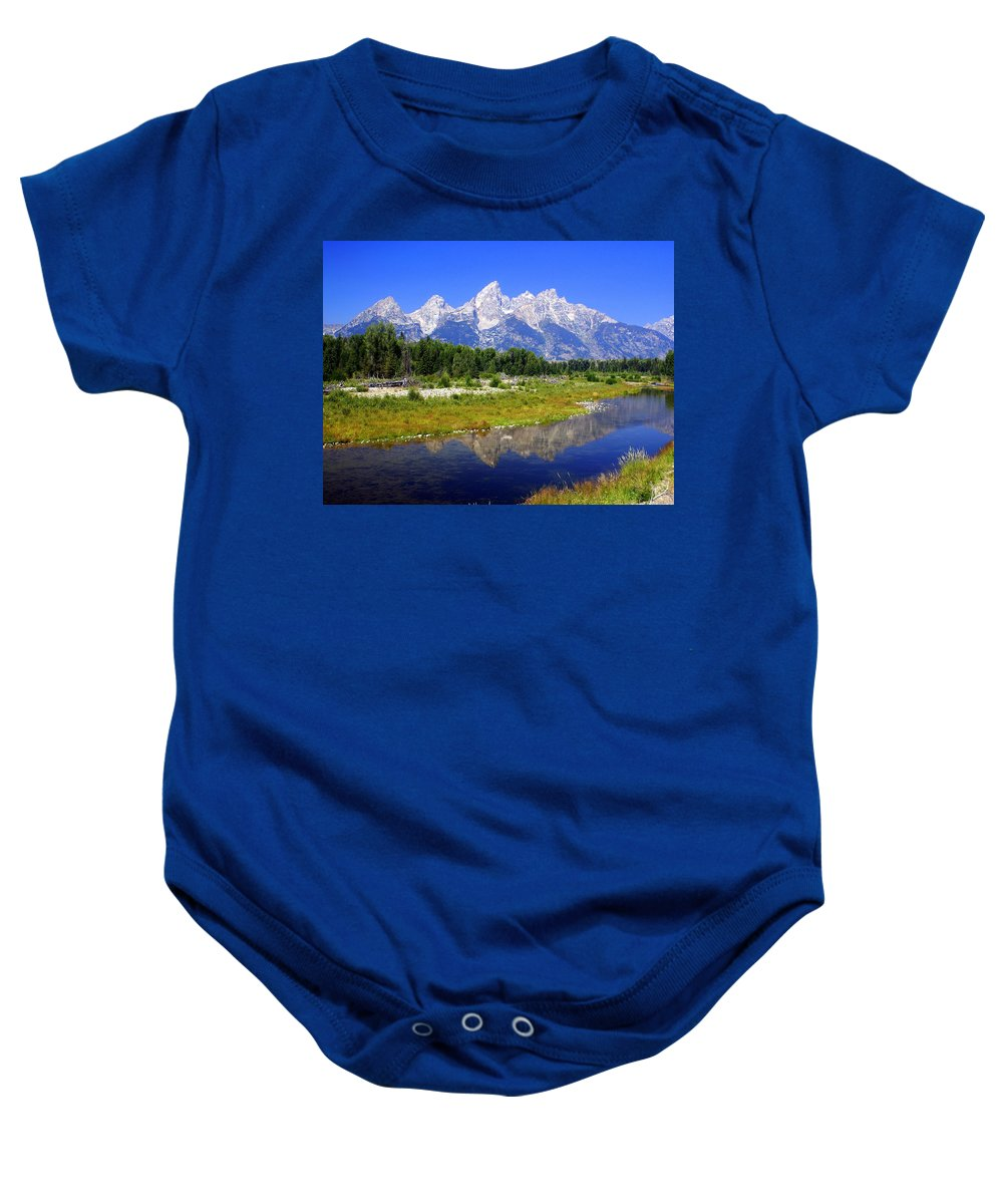 Grand Teton National Park Baby Onesie featuring the photograph Grand Tetons by Marty Koch
