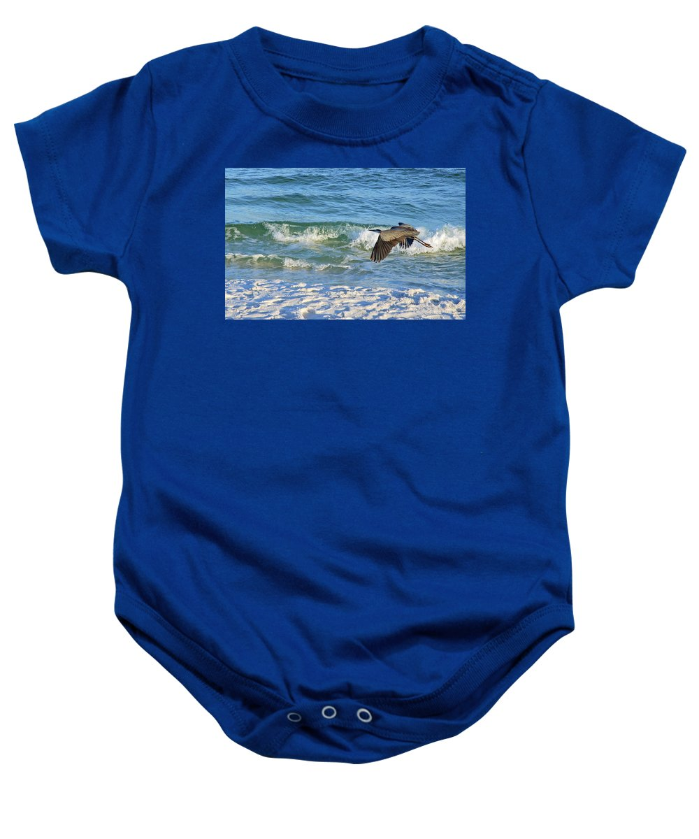 Heron Baby Onesie featuring the photograph Great Blue Heron In Flight by Marie Hicks