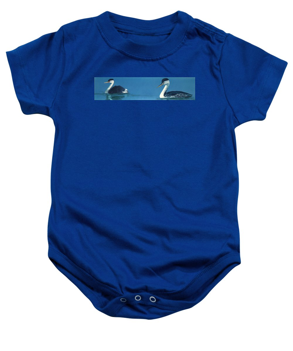 Grebes Baby Onesie featuring the painting Grebes by Denny Bond