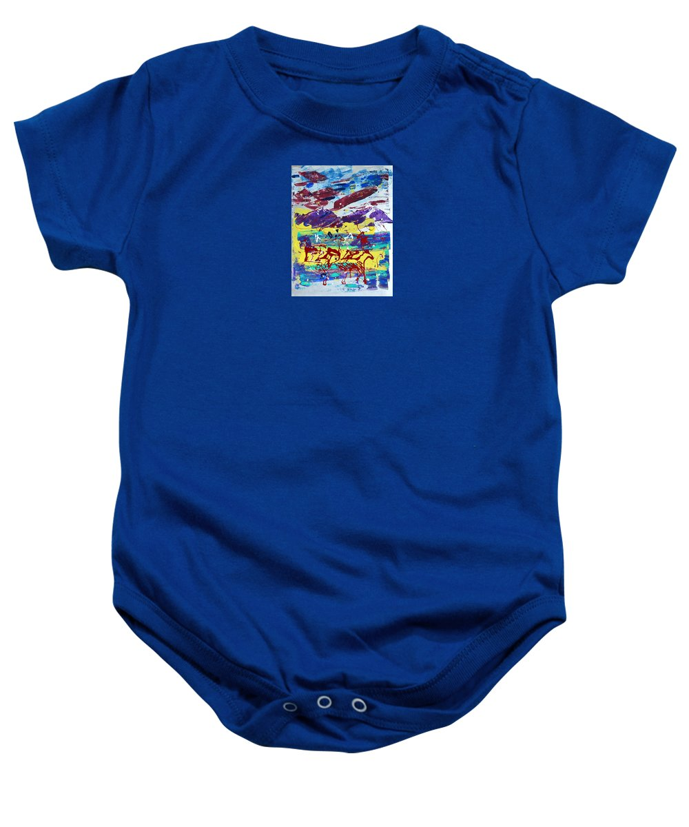 Horses Grazing Baby Onesie featuring the painting Green Pastures And Purple Mountains by J R Seymour