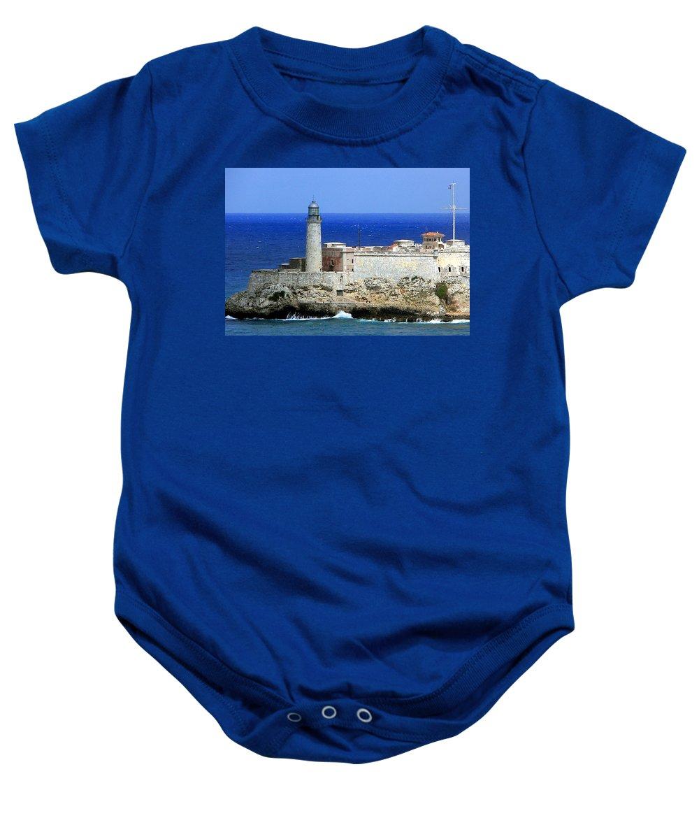 Cuba Baby Onesie featuring the photograph Havana Harbor Lighthouse by Karen Wiles