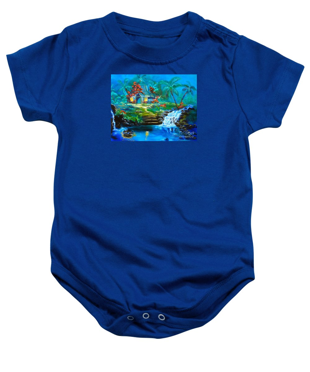 Waterfalls Baby Onesie featuring the painting Hawaiian Hut And Waterfalls by Jenny Lee