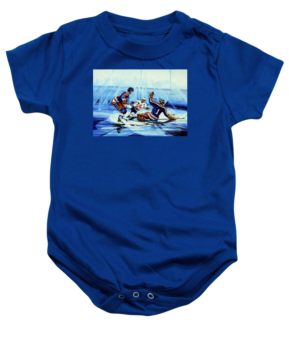 Hockey Baby Onesie featuring the painting He Shoots by Hanne Lore Koehler