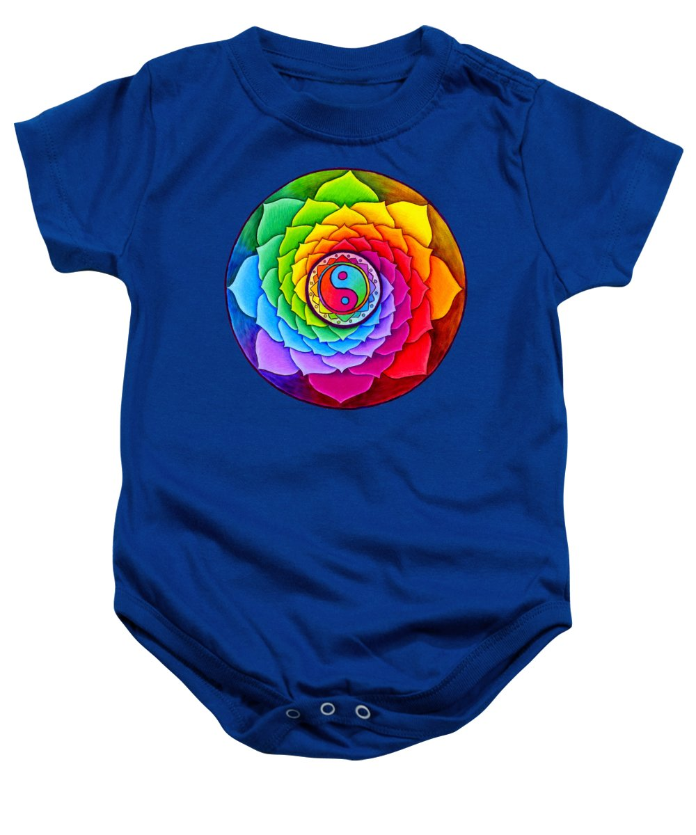 Mandala Baby Onesie featuring the drawing Healing Lotus by Rebecca Wang
