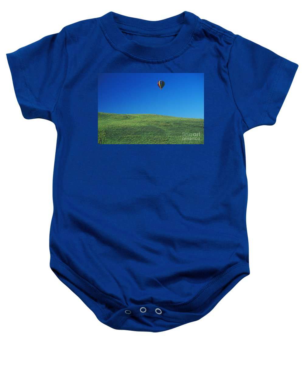 Above Baby Onesie featuring the photograph Hot Air Balloon In Hawaii by Peter French - Printscapes