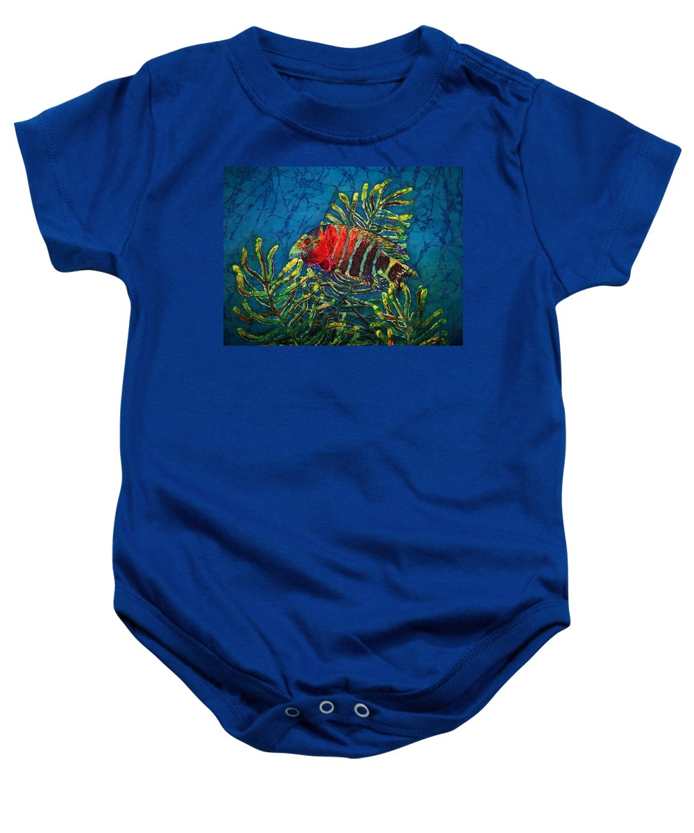 Fish Baby Onesie featuring the painting Hovering - Red Banded Wrasse by Sue Duda