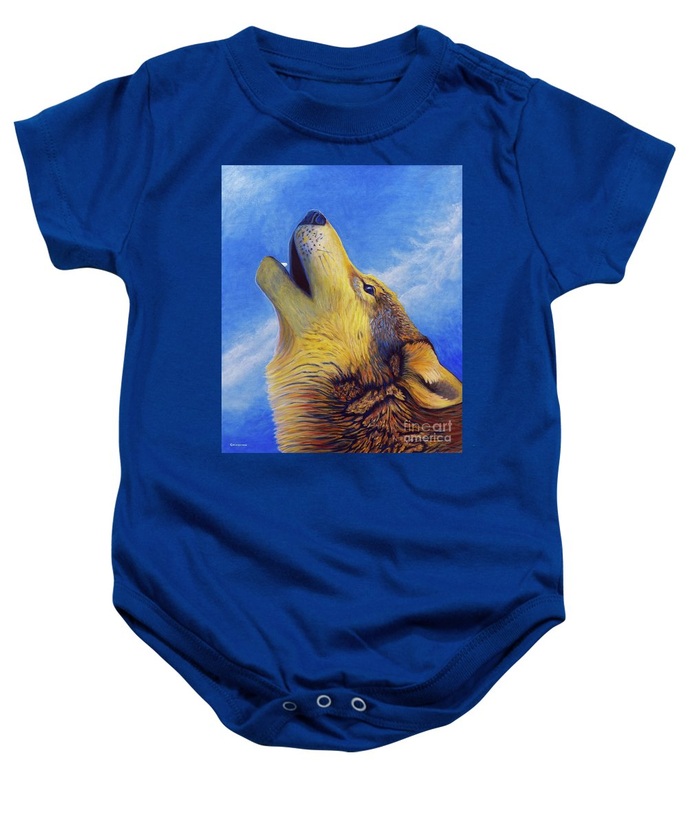 Wolf Baby Onesie featuring the painting Howl by Brian Commerford