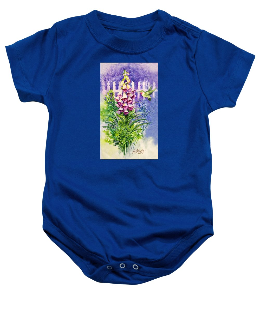 Bird;hummingbird;foxgloves;flowers;floral;fence;picket Fence;impressionistic;watercolor;painting; Baby Onesie featuring the painting Hummingbird In Foxgloves by Lois Mountz
