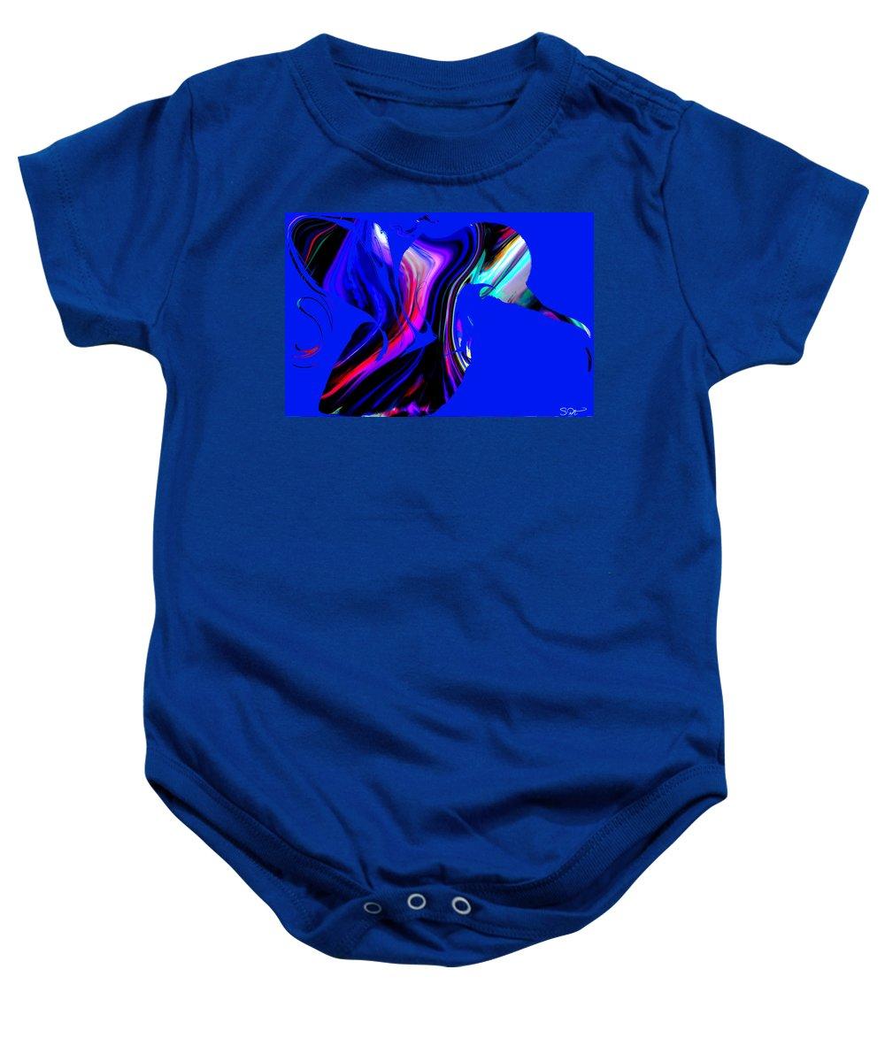 Hummingbird Baby Onesie featuring the digital art Hummingbird In The Blue. by Abstract Angel Artist Stephen K