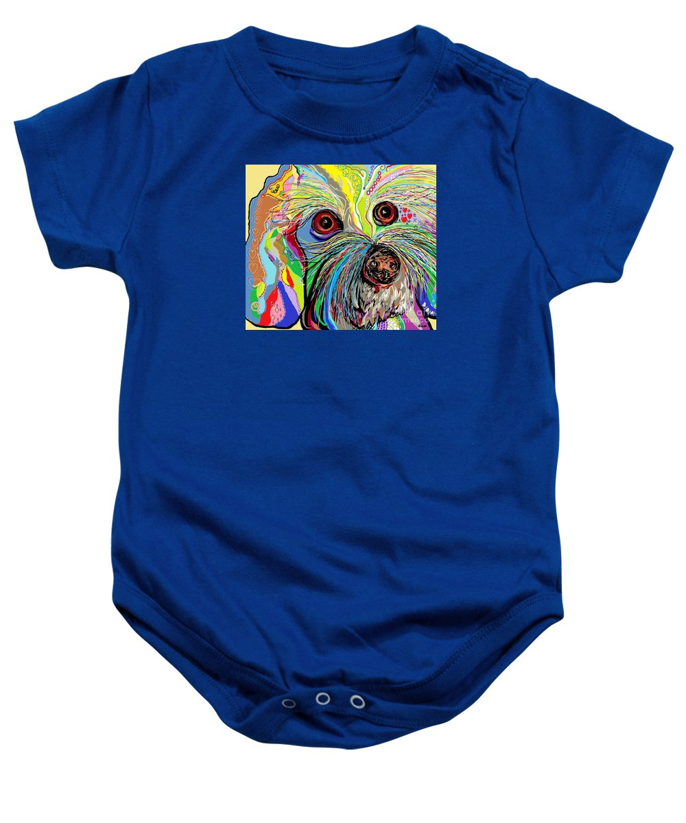 Bichon Baby Onesie featuring the painting Hunter The Bichon . . . He's A Shoe Man by Eloise Schneider Mote