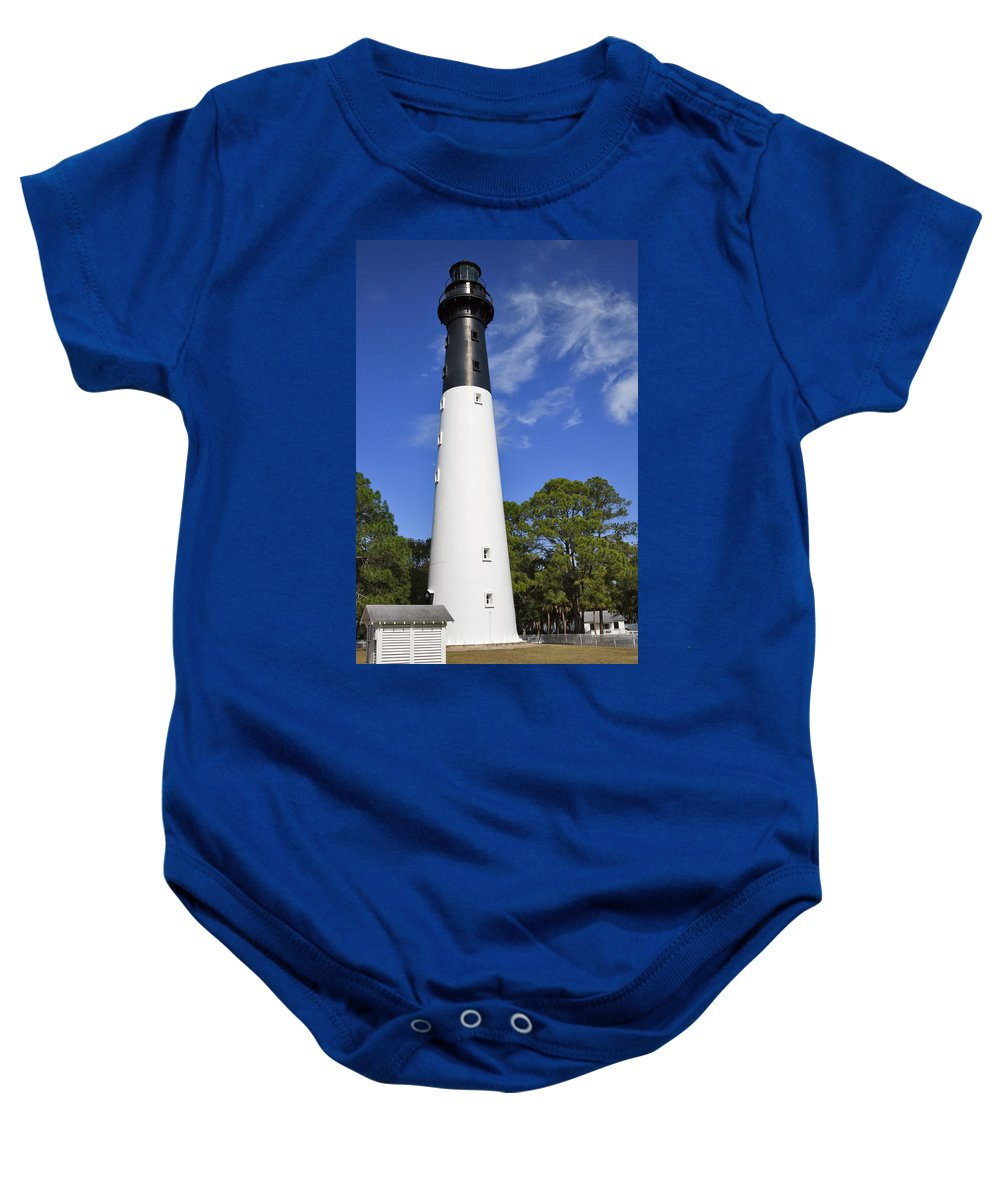 Lighthouse Baby Onesie featuring the photograph Hunting Island Lighthouse South Carolina by Louise Heusinkveld