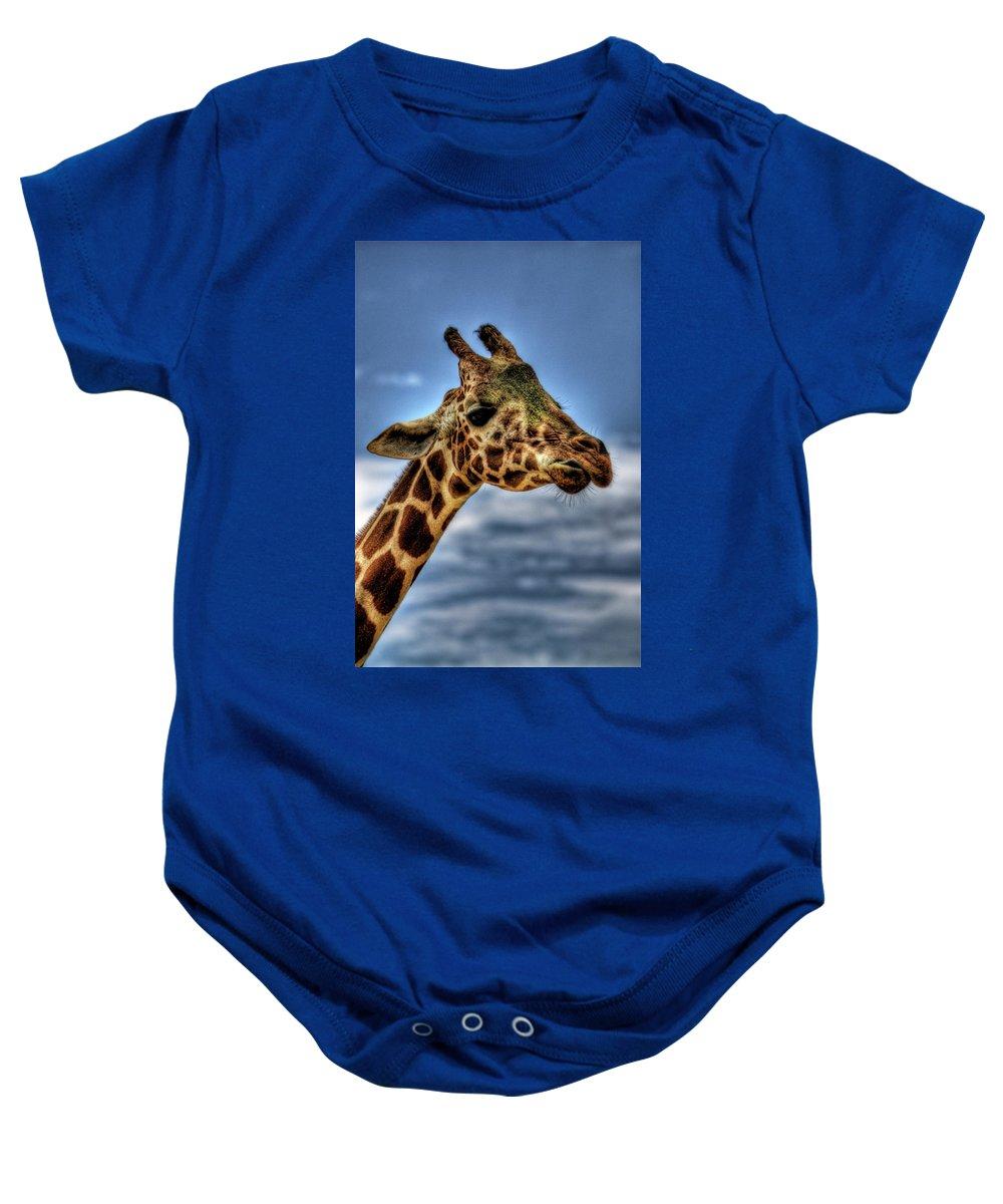 Giraffe Baby Onesie featuring the photograph I See You by Saija Lehtonen