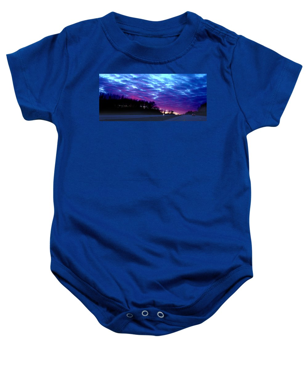 Landscape Baby Onesie featuring the photograph I70 West Ohio by Steve Karol