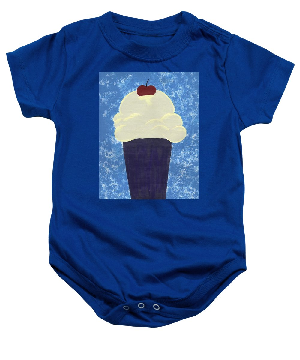 Food Baby Onesie featuring the painting Ice Cream by Jill Christensen