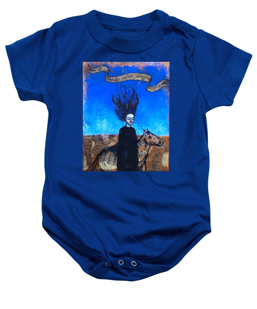Baby Onesie featuring the painting Idontcareanymore by Pauline Lim