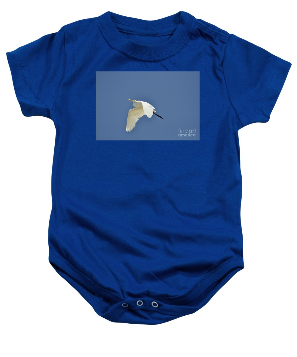 Clay Baby Onesie featuring the photograph In Flight by Clayton Bruster