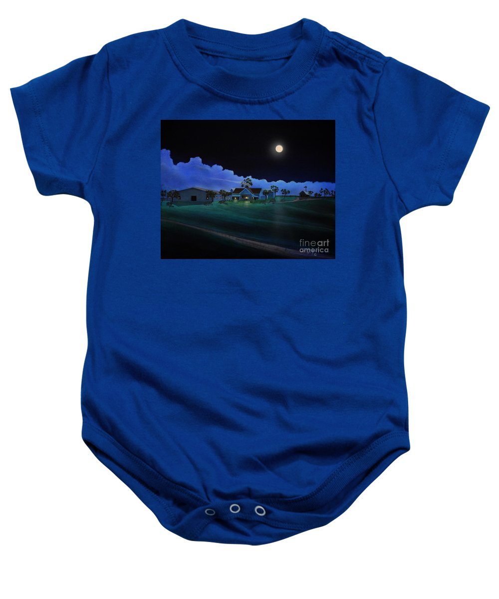 Arizona Baby Onesie featuring the painting In For The Night At Empire Ranch by Jerry Bokowski