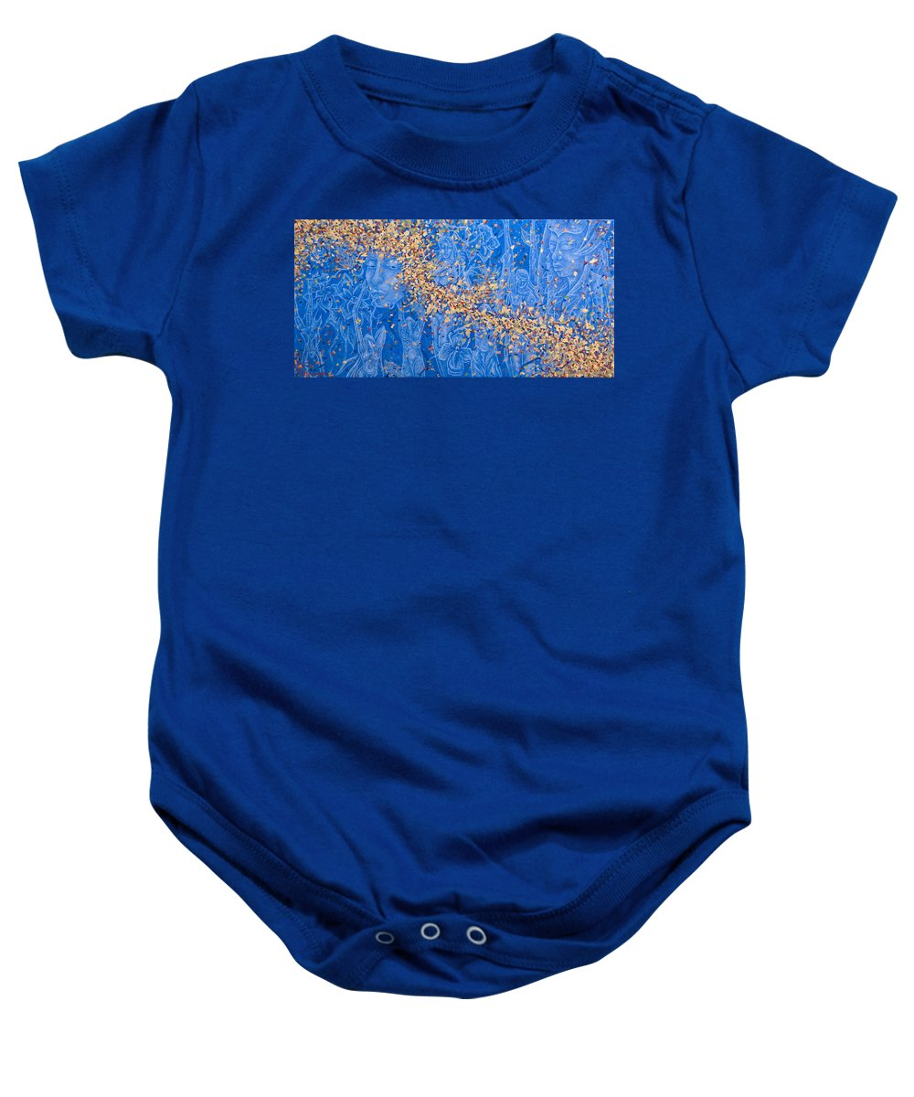 Waterfall Baby Onesie featuring the painting In The Falls by Judy Henninger