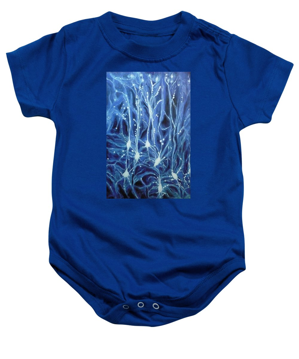 Brain Cell Baby Onesie featuring the painting Inside The Brain by Ericka Herazo