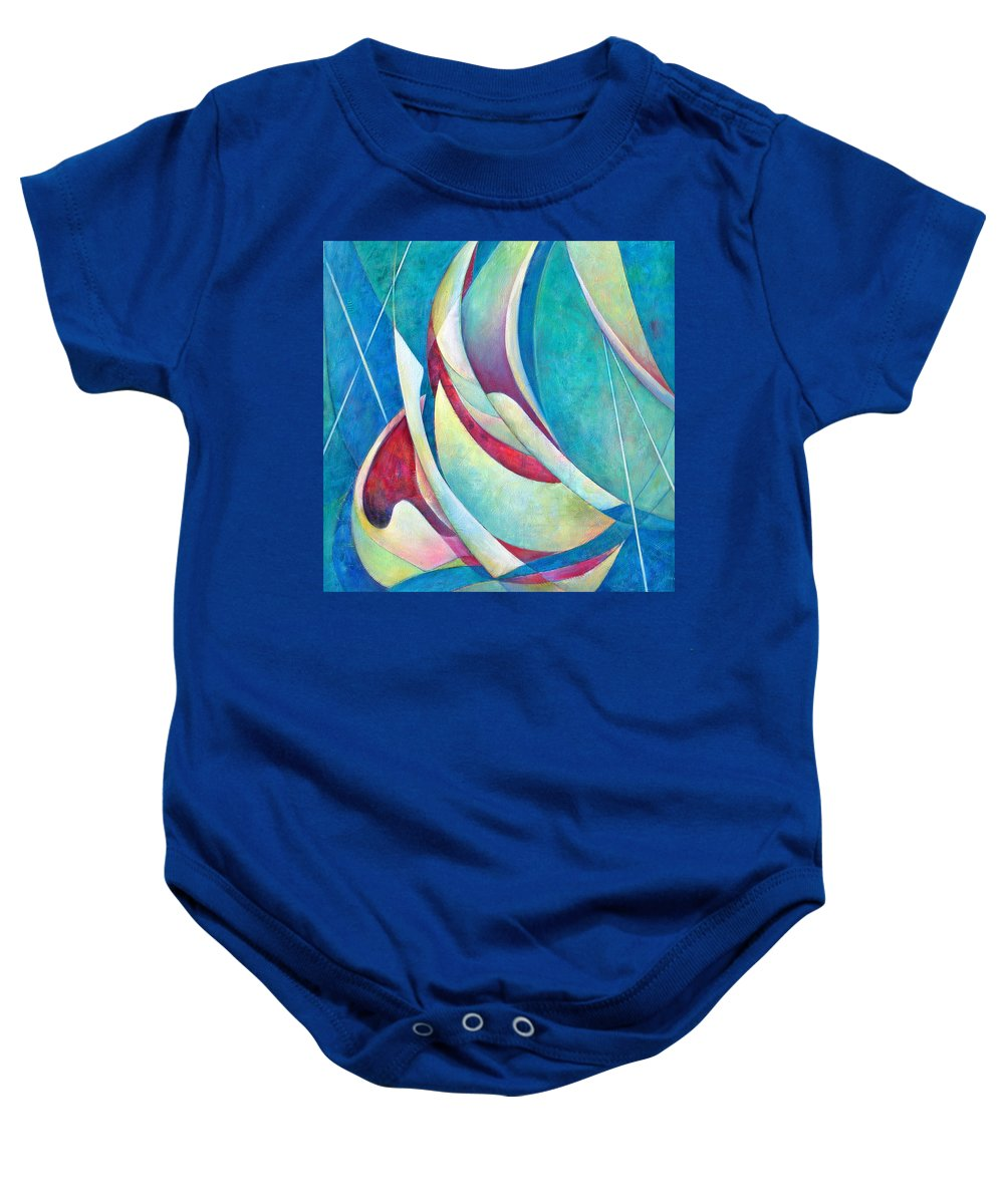 Sea Baby Onesie featuring the painting Into The Breeze by Susanne Clark
