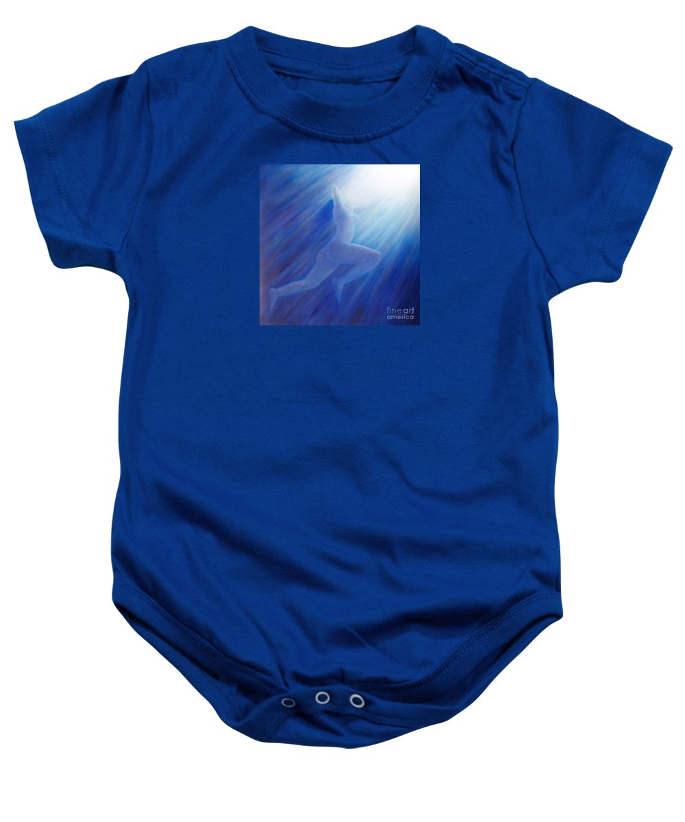 Spiritual Baby Onesie featuring the painting Into The Light by Brian Commerford