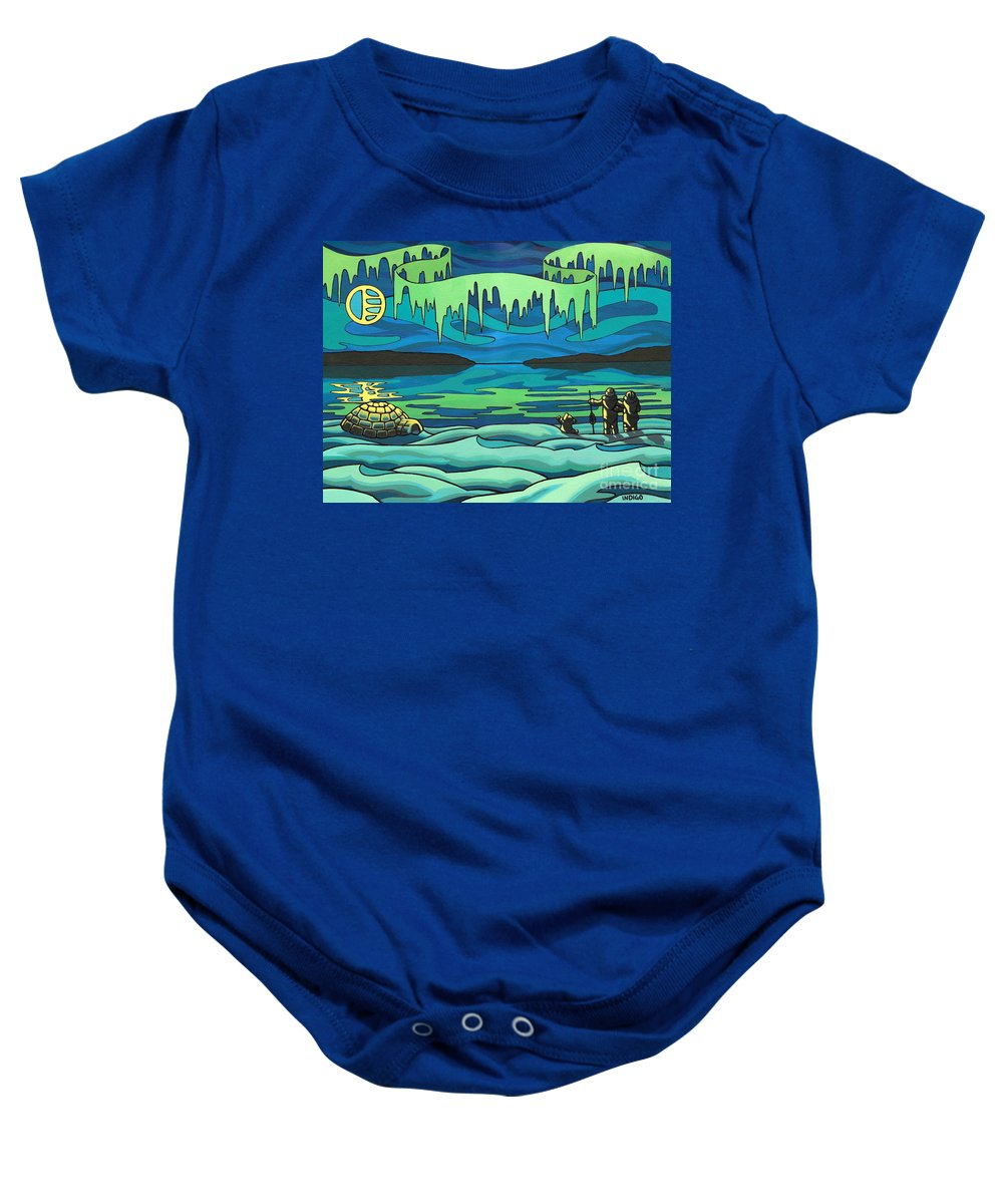 Inuit Baby Onesie featuring the painting Inuit Love Arctic Landscape Painting by Kim Hunter