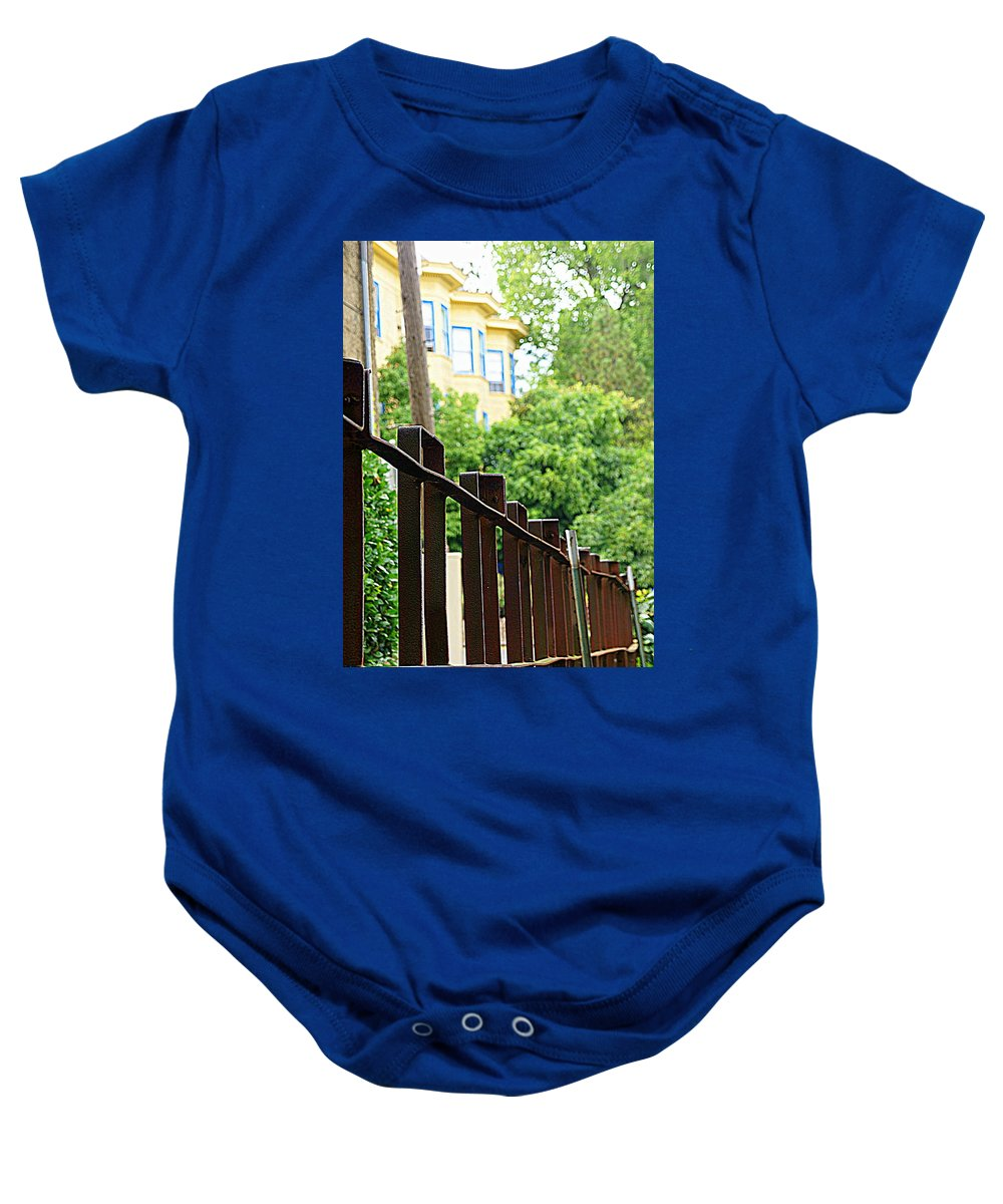 Yellow House Baby Onesie featuring the photograph Iron Fence 2 by Janette Legg