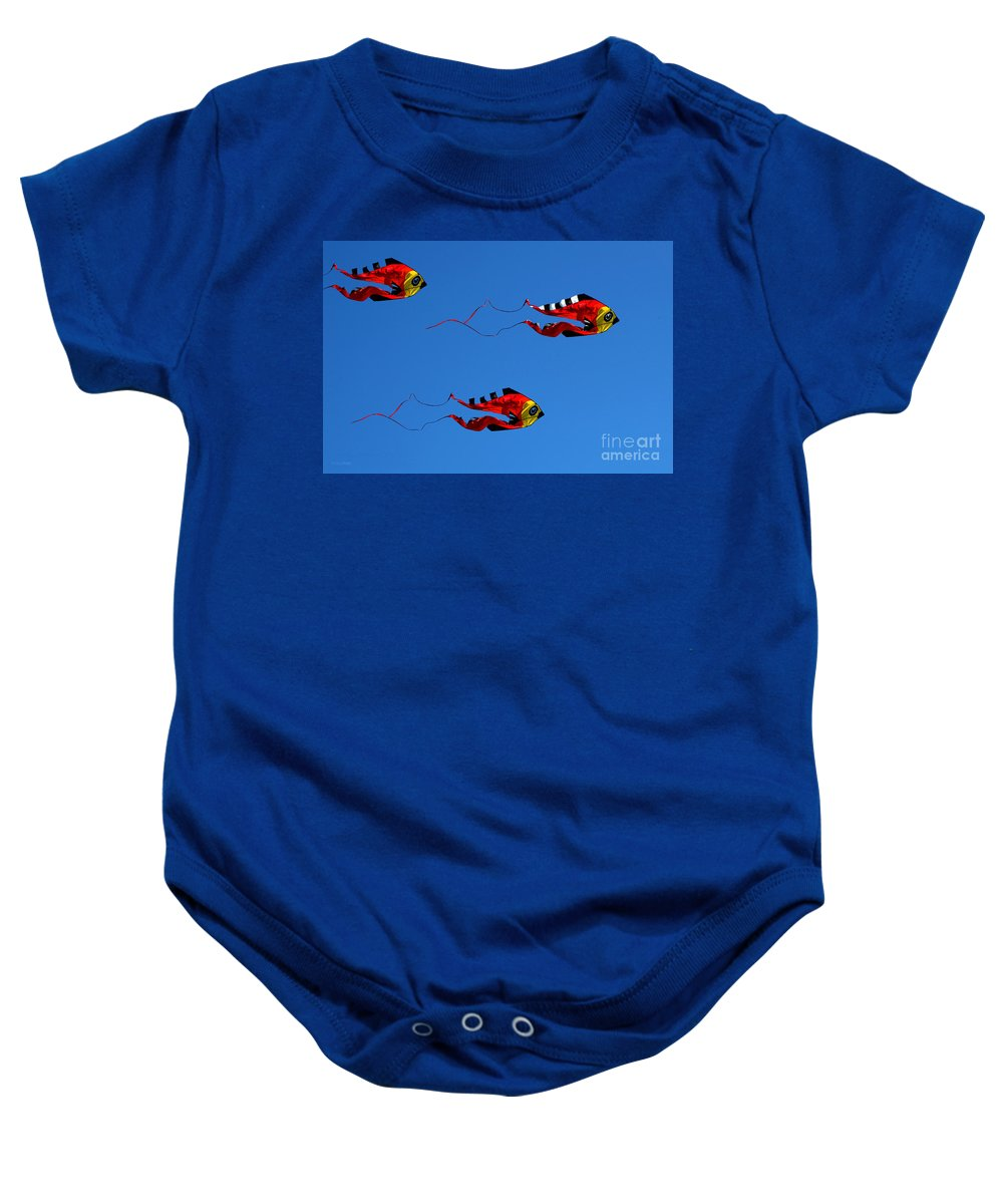 Clay Baby Onesie featuring the photograph It's A Kite Kind Of Day by Clayton Bruster