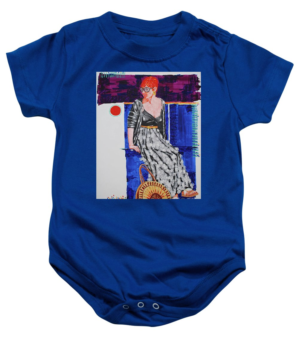 Realistic Baby Onesie featuring the painting Jazz On The Square by Art Mantia